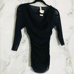 Sweet Pea Blouse Black Sheer 3/4 Sleeve Top Small